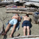 Meine Kollegen am Sonnenbaden am Long Beach