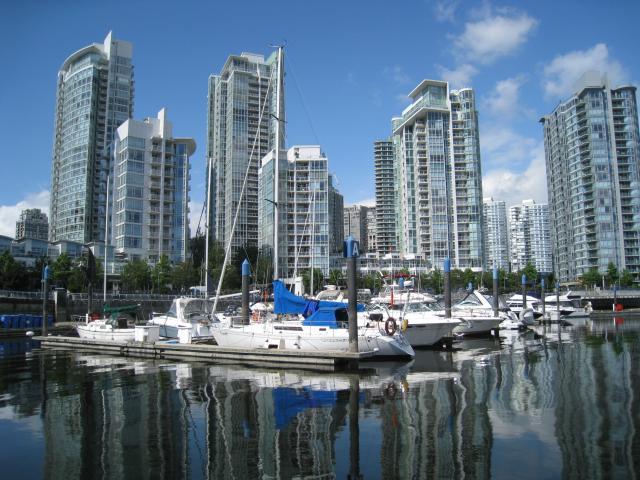 Sicht auf Vancouver von einer Grandville Island Ferry