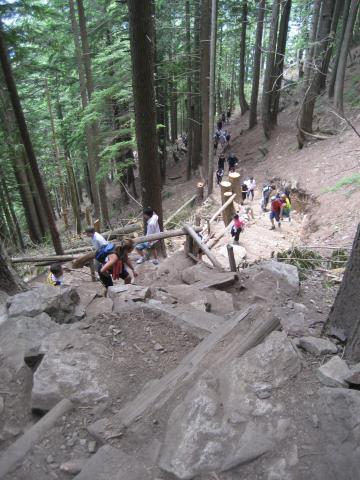Aufstieg zum  Gipfel des Grouse Mountains